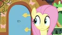 Fluttershy looks at the door S4E16