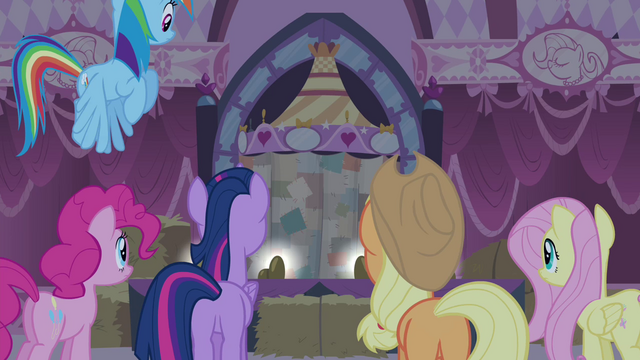 File:Rarity's friends listening Rarity talking S4E13.png