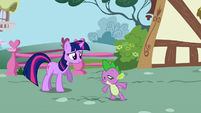Twilight and Spike follow Snips and Snails S1E06