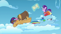 Young Rainbow and Hoops racing past Twilight, Spike, and Starlight S5E26
