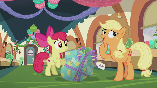 "File:Applejack ""only Pinkie Pie could hide a present"" S5E20.png"