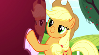 Applejack polishes a large apple S5E13