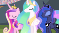 Cadance, Celestia, and Luna nodding S4E24.png