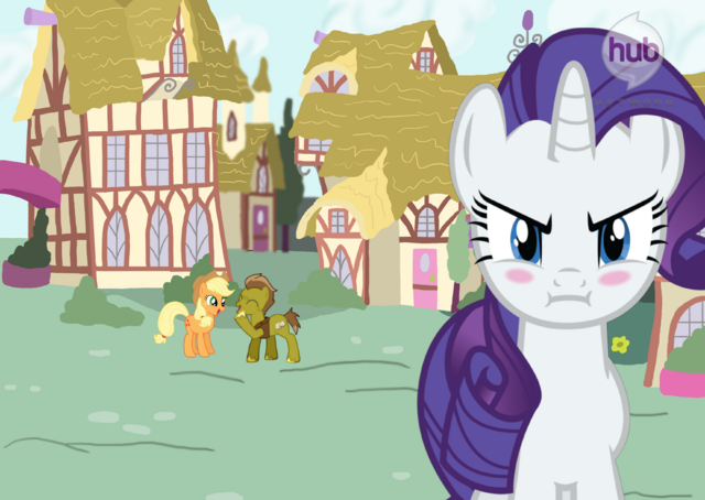 File:FANMADE Rarity Angry With Applejack and Trenderhoof Talking.png
