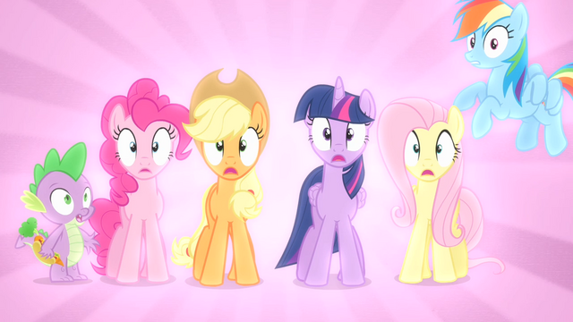 File:Main ponies and Spike shocked S04E08.png