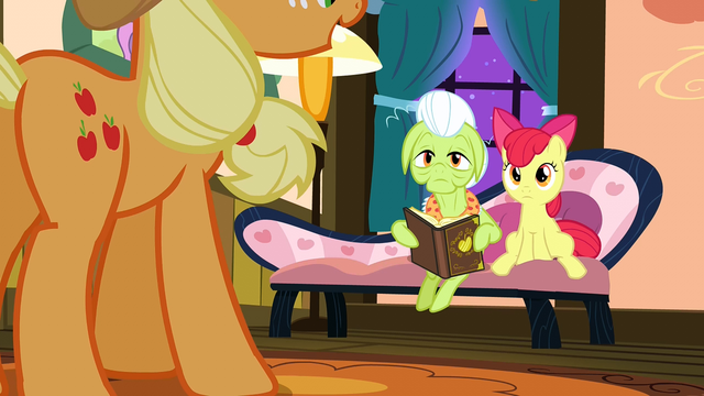 File:Granny and Apple Bloom looking at Applejack S3E08.png