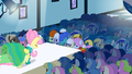 Derpy at the fasion show.png