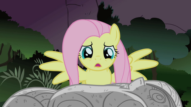 File:Fluttershy looks at Twilight's rock solid body S1E17.png