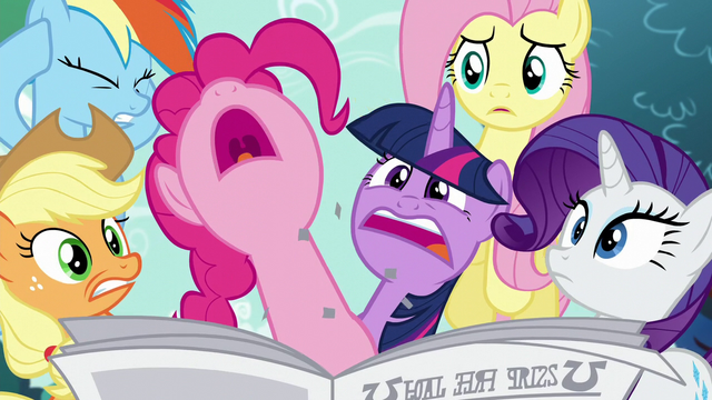 File:Pinkie Pie pops through the newspaper S5E19.png