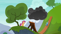 Rainbow Dash flying down the ramp S6E7