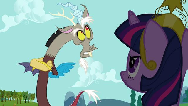 "File:Discord mocks Twilight's ""precious princess"" S03E10.png"