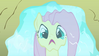 Fluttershy shocked at reflection in puddle S2E19