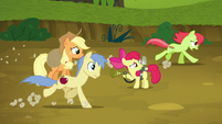 Peachy Sweet and Red Delicious gallop past AJ and Apple Bloom S5E4