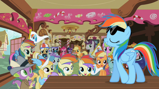 File:Rainbow Dash Appearing Before Fans S2E08.png