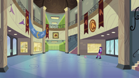 Twilight and Spike in Canterlot High's main hall EG