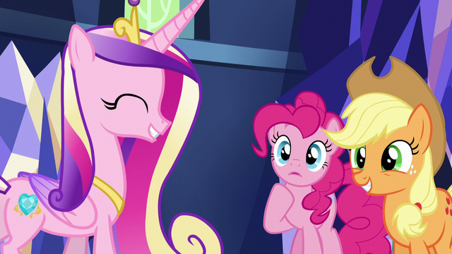 File:Cadance greets Pinkie and Applejack S5E19.png