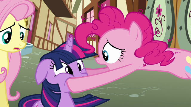 File:Pinkie Pie holding Twilight's face S3E07.png