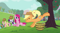 Applejack helps Pinkie Pie buck apples S03E13