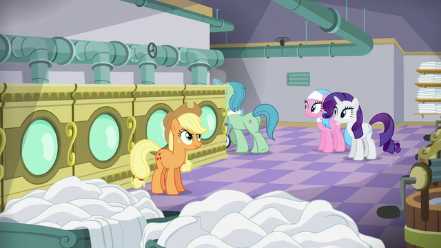 File:Applejack watches Spa Worker leave S6E10.png