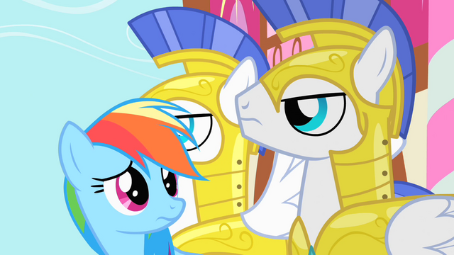 File:Rainbow Dash looking at Royal Guards S1E22.png