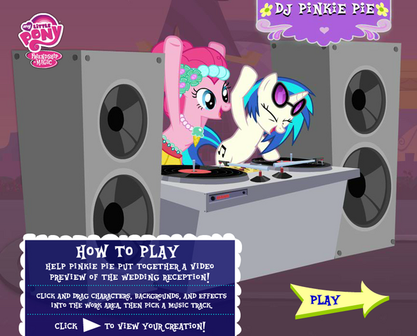 Datei:DJ Pinkie Pie Hubworld Wedding promotion.png