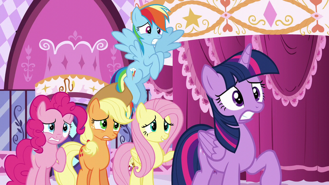 "File:Rarity's friends looking nervous; Fluttershy ""But—"" S6E9.png"