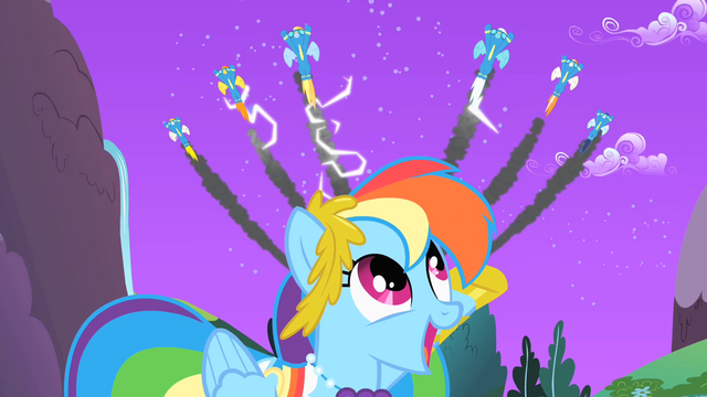 File:The Wonderbolts fly over Rainbow Dash S1E26.png