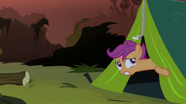 File:Scootaloo peeking out of tent S3E6.png