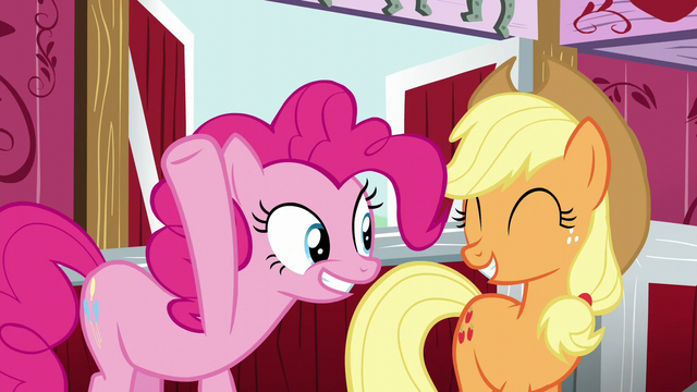 File:Pinkie and Applejack smile S5E11.png