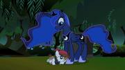 Pipsqueak hugging Luna on the leg S2E04