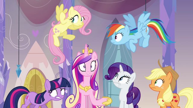 File:Twilight, Cadance, and friends surprised S03E12.png