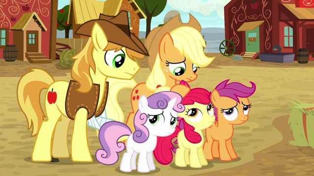 File:Applejack and Braeburn standing with the CMC S5E6.png