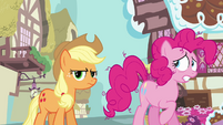 Applejack looking at screen as Pinkie complains S3E07