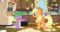 Spike about to bow down to Applejack S3E9