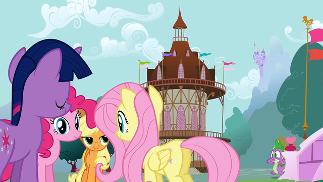 File:4 of the Mane 6 gathered in Ponyville S1E19.png
