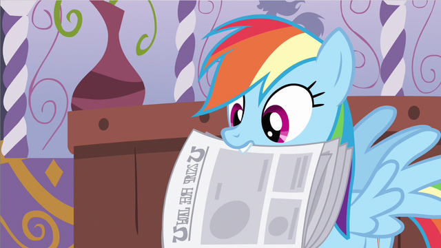 File:Rainbow Dash holding newspaper S2E23.png