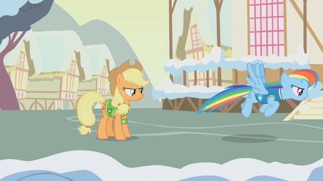 File:Applejack tells Rainbow Dash to melt the snow S1E11.png