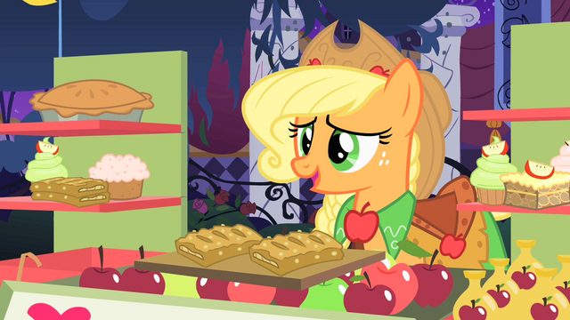 File:Applejack gives apple fritters to Rarity for free S1E26.png