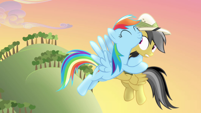File:Rainbow Dash hugging Daring Do S4E04.png