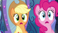 Applejack and Pinkie Pie listening EG.png
