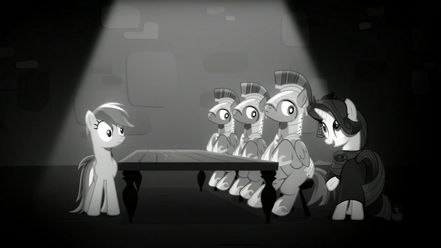 File:Rainbow sees Rarity trying to charm the castle guards S5E15.png