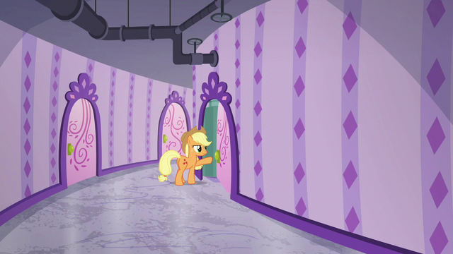 File:Applejack opening a spa door S6E10.png