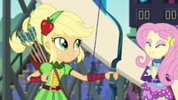 Applejack satisfied; Fluttershy clapping EG3