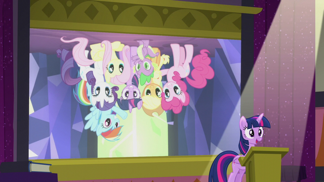 File:Slide of Mane Six upside-down S5E25.png
