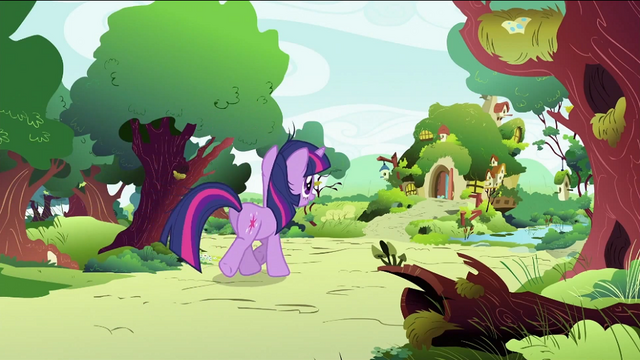 File:Twilight Sparkle going to Fluttershy's home S2E03.png