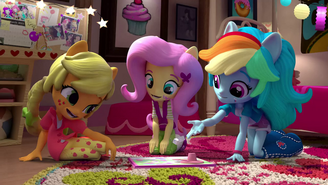 File:AJ, Fluttershy, and Rainbow play a board game EGM4.png