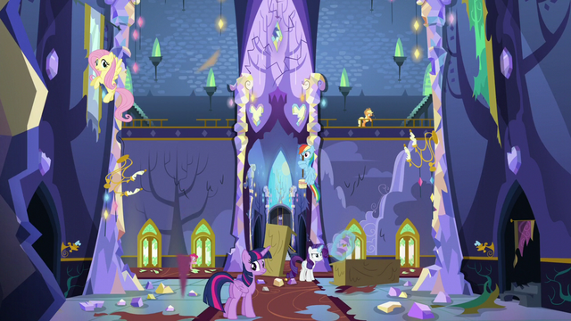 File:Fluttershy, Rainbow, and Twilight sees pieces falling down S5E11.png