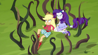 Rarity protects Applejack from the vines EG4