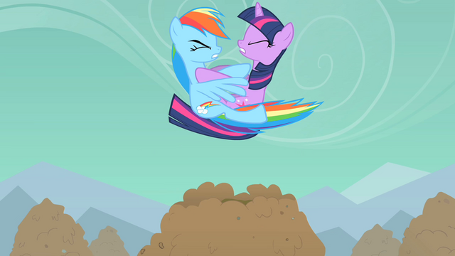 File:Rainbow Dash and Twilight Sparkle crash into each other S01E19.png