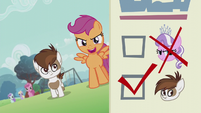 Scootaloo walking with Pipsqueak; ballot paper shows Diamond's head crossed out S5E18